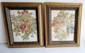 Two framed and glazed floral embroidery panels, possible 17th century, each 24 x 19 cm