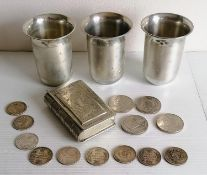 Three Indian silver beakers or julep cups with etched decoration, each stamped T.100 to base, 9.5 cm