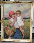 Indistinctly signed, Hungarian early 20th century, MOTHER and CHILD, oil on canvas, 110 x 75 cm