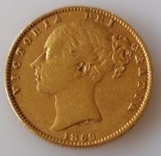 A Victorian gold full-sovereign, 1869