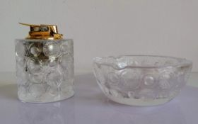 A mid-century Lalique 'Tokyo' ashtray and matching lighter (Ronson) with frosted and clear glass