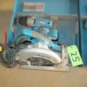 """LOT OF 2 MAKITA POWER TOOLS (5007NFA 7 1/4"""" CIRCULAR SAW, 6905B 1/2"""" IMPACT WRENCH W/CASE) (IN WEST"""
