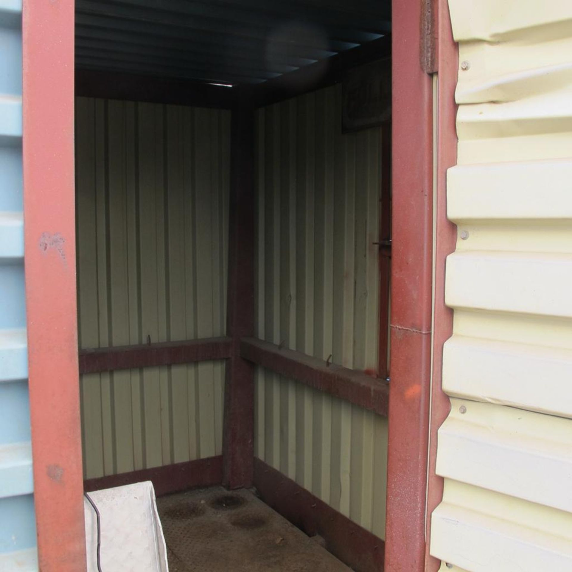 Lot 488 - PORTABLE STEEL GAS STORAGE SHED WITH FOLD DOWN RAMP (WEST YARD)