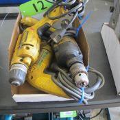 """LOT OF 3 DEWALT POWER TOOLS (2 - D21008, 3/8"""" VSR DRILL, DW511 1/2"""" VSR HAMMER DRILL) (IN WEST BLDG)"""