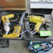 "LOT OF 3 DEWALT POWER TOOLS (DW130, 1/2"" REVERSING DRILL, DW255 VSR DRYWALL SCREW DRIVER, DW890 18 G"