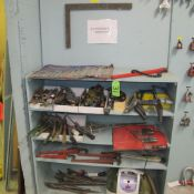 LOT OF HAND TOOLS W/BISSELL LITTL GREEN TURBO BRUSH AND SHELVING UNIT (UPPER TOOL CRIB)