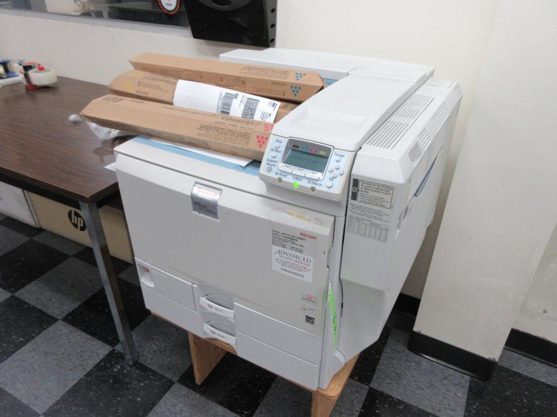 Ricoh Aficio SP C820DN colour printer, includes colour print cartridges