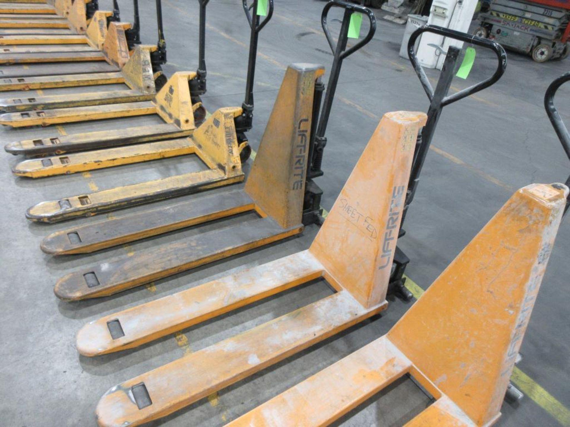 "Lift Rite 3,000 lb capacity pallet jack w 30"" scissor capability, model RG30M205048, 48"" forks"