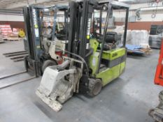 """Clark 4,500 lb capacity, 3 wheel electric clamp forklift, model TM25, 3 stage mast, 186"""" lift height"""