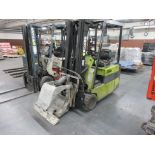 "Clark 4,500 lb capacity, 3 wheel electric clamp forklift, model TM25, 3 stage mast, 186"" lift height"