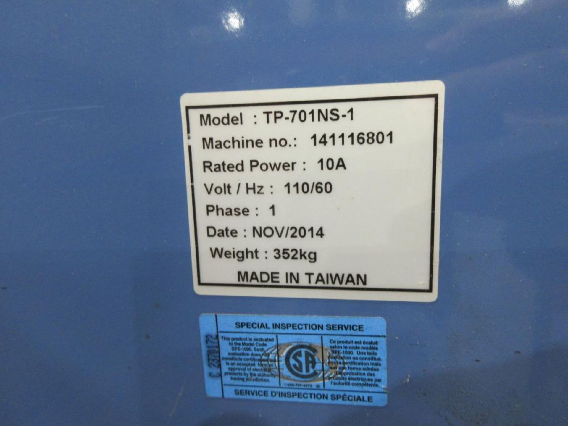 2014 Progressive Systems & Packaging stacker model TP-701N-1, sn 141116801 [Exclusive rigging fee of - Image 3 of 3