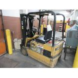 "Caterpillar 3,250 lb capacity, 3 wheel electric clamp forklift, model F35, 3 stage mast, 191"" lift h"