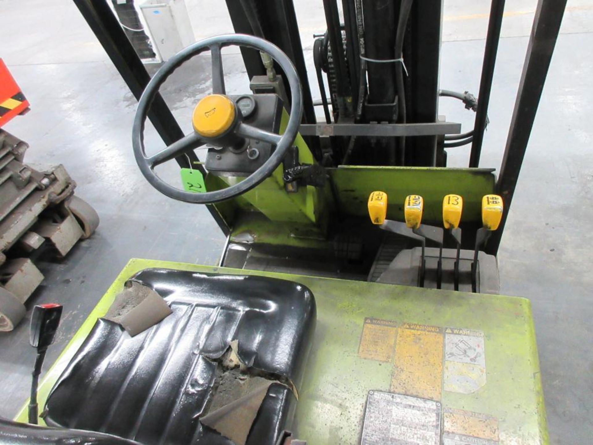 """Clark 4,500 lb capacity, 3 wheel electric clamp forklift, model TM25, 3 stage mast, 186"""" lift height - Image 3 of 10"""
