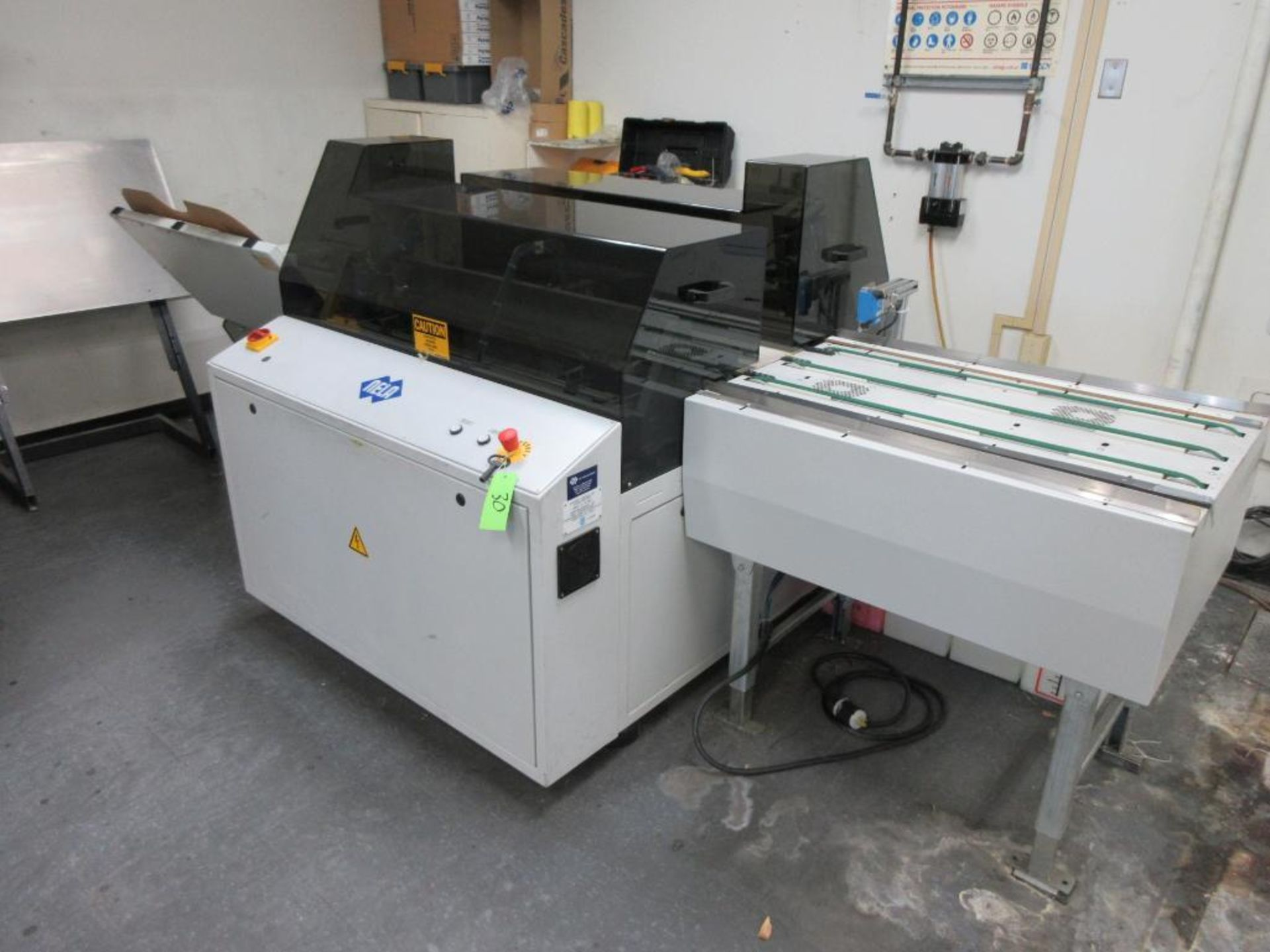 "Nela plate punch / bender, model BNCH-7545-01, 40"" infeed conveyor, 48"" bend table, 40"" outfeed conv"