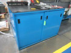 """Blue steel 57"""" x 31"""" 2 door 3 shelf tool cabinet"""