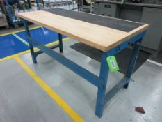 "(2) Maple top & blue steel 60"" x 30"" work tables"
