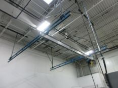 GORBEL Bridge Crane 500 lbs capacity, ceiling mounted area coverage approx. 16' x 20', (2) 16' paral