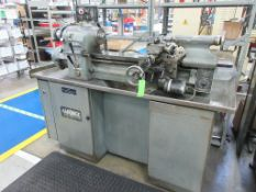 "HARDINGE lathe model HLV-H, 10"" x 20"", collet chuck, tailstock, toolpost, 125-3000 rpm, spare collet"