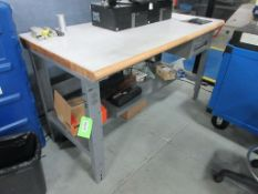 "(3) Maple top & grey steel 60"" x 30"", (1) 72"" x 30"" work tables"