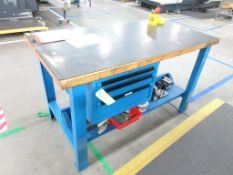 "(2) Maple top & blue steel 60"" x 30"" work tables w 3 drawers"