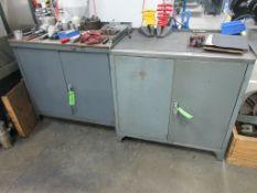 """(3) Assorted grey steel 36"""" x 24"""" & 25"""" 2 door tool cabinets"""