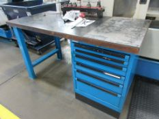 "(1) Maple top & blue steel 60"" x 30"" work table w 6 drawers, (2) maple top & blue steel 60"" x 30"" wo"
