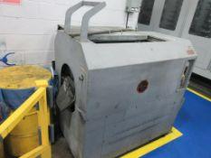 "ROTO FINISH vibratory tumbling machine model OV7EU, approx. 35"" x 16"" x 16"" rubber lined tub [WB] [E"