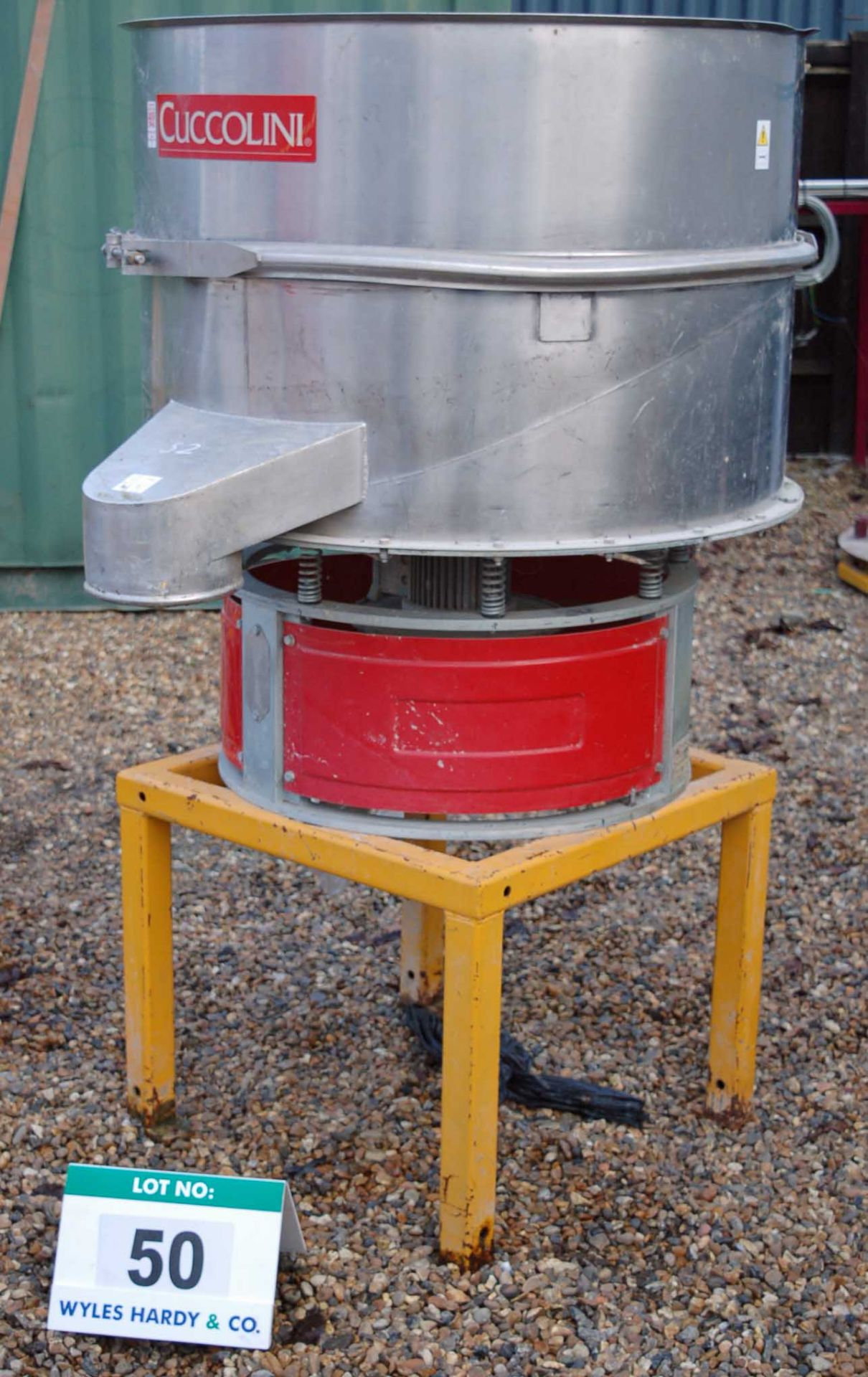 Lot 50 - A CUCCOLINI VPM 900 1X 900MM Dia VIBRATORY Drum Sieve on Fabricated Steel Stand. Seral Number: