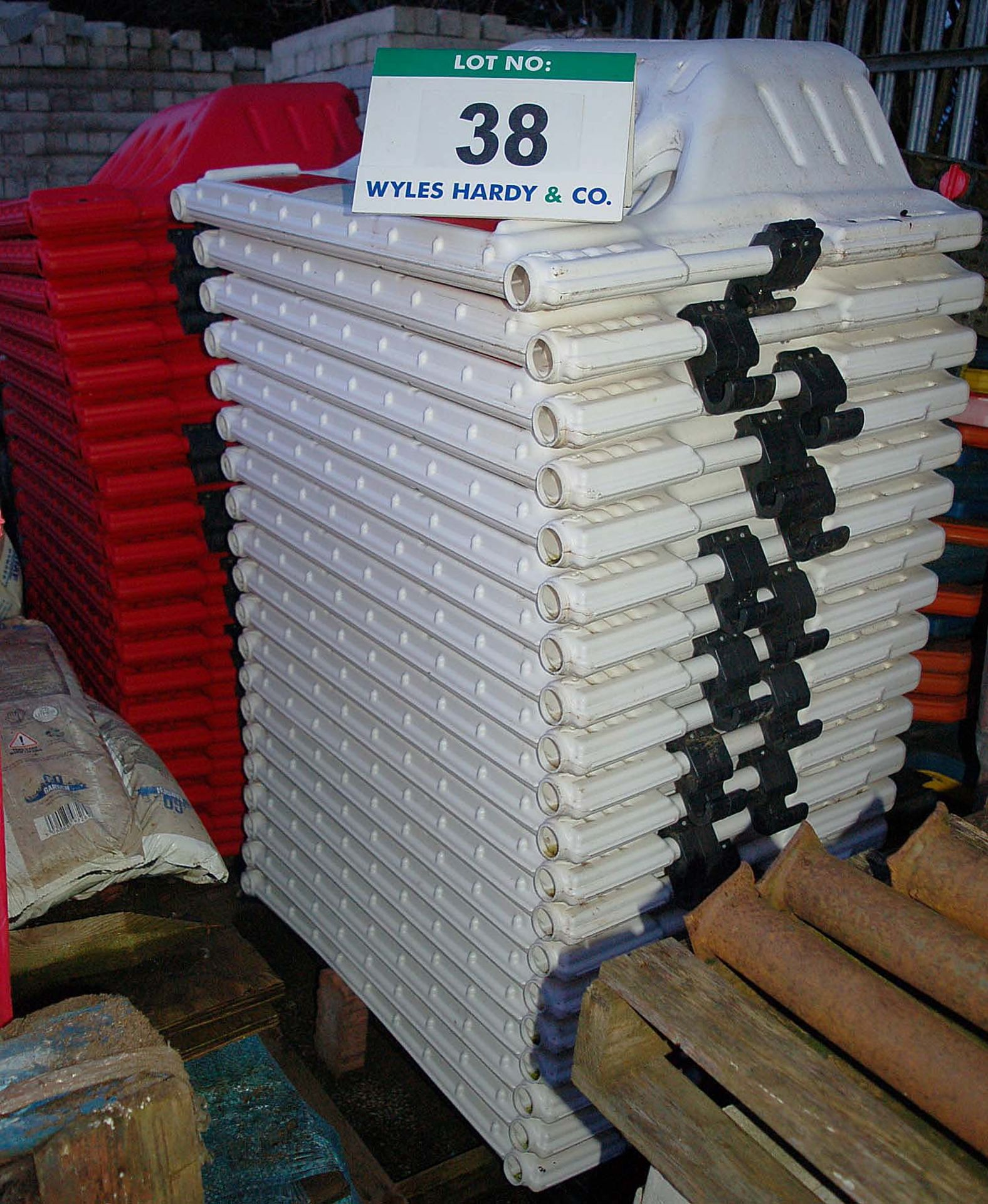 Lot 38 - 40 Moulded Plastic Pedestrian Barriers (20 x White / 20 x Red)