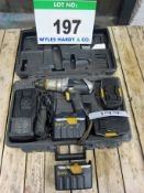 A MACALLISTER 3-Speed Cordless Hammer Drill 24V complete with Four Batteries, Charger and Blow