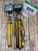 A 240V Halogen Work Light on Stand and A 110V Halogen Work Light on Stand