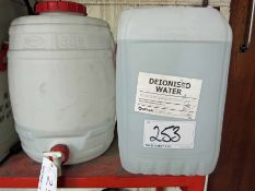 A GRAF 30-Litre Ionised Water Butt with Tap and Two Part Used 25-Litre Drums of Deionised Water