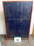Two Folding Transportable Welding Screens on Hinged Steel Frames with Removable Feet each Panel (
