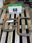 A Pair of 12 Inch Carver Clamps complete with Wall bracket
