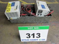 Two EXIDE Type 2100SP, 24V, 30 Amp Single Phase Battery Chargers and A Quantity of Charger Leads