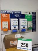 A DEB Skin Safety Centre Wall mounted Panel with Dispensers and A Box of Unused DEB Protect Plus