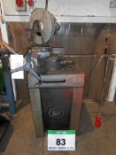 A PEDRAZOLLI MEC BROWN 75 Pull-Down Cut-Off Saw on Cabinet Stand complete with Three 285mm dia.