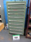 A 760mm x 700mm x 1530mm Green Steel 10-Drawer Tools/Parts Chest