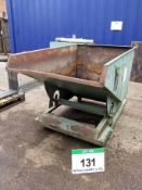 A LEONARD Tipping Skip, Spring Loaded Tipping Action on Wheeled Base with Forklift Pockets