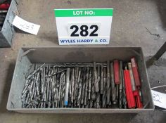 Over One Hundred Various 10mm to 20mm Drill Bits in A Steel Tote Bin