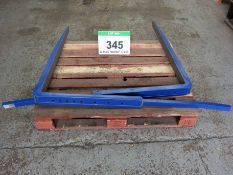 A Pair of CASCADE 80mm x 45mm x 1100mm Double Pallet Handler Forks, P/N 6243424, capacity 625Kg at