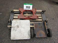 A 1220mm x 600mm 4-Wheeled Bogie, A Wheeled Platform 570mm x 545mm, A Pair of Wheels for A Welding