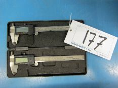 Two 150mm Digital Vernier Calipers, Calibrated to 25/08/2020 with Certificate (One with Case)