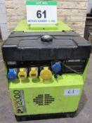 A PRAMAC Protech Model P12000 Petrol Generator with GX620 V Twin 14.9KW (20HP) engine, 230V/110V