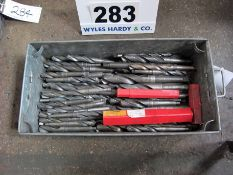 Over Fifty Various 20mm x to 34mm Drill Bits in A Steel Tote Bin