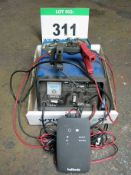 A HALFORDS Smart Battery Charger a DRAPER 6v/12v Battery Charger and a TAURUS 4 Battery Charger