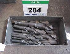 Seventeen Various 35mm Plus Drill Bits in A Steel Tote Bin