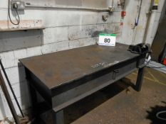 An 1800mm x 830mm Heavy Steel Welding Bench complete with RECORD No. 3 4 Inch Vice
