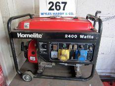 A HOMELITE Model HGN2400D, 2400 Watt Portable Petrol Generator, 196cc 4-Stroke Engine with 240V,