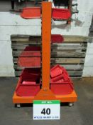 A 370mm x 750mm x 1170mm Wheeled Trolley with fitted Multi-Bin Rack and A Quantity of Multi Bins